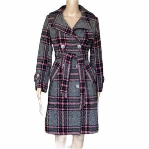 Max Mara Grey/ Pink Cotton Tweed Plaid Top Coat